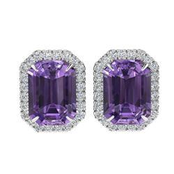 9.40 ctw Amethyst & Micro Pave VS/SI Diamond Earrings 18k White Gold