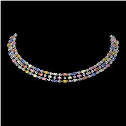 61.73 ctw Multi Color Sapphire & Diamond Necklace 10K White Gold