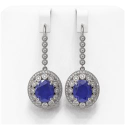 17.22 ctw Sapphire & Diamond Victorian Earrings 14K White Gold