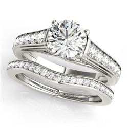 1.7 ctw Certified VS/SI Diamond 2pc Wedding Set 14k White Gold