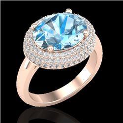 5 ctw Sky Blue Topaz & Micro Pave VS/SI Diamond Ring 14k Rose Gold