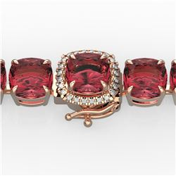 40 ctw Pink Tourmaline & Micro Diamond Bracelet 14k Rose Gold