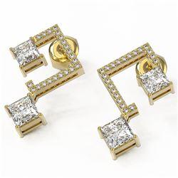 3 ctw Princess Diamond Earrings 18K Yellow Gold