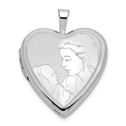 14k White Gold Mother and Child Heart Locket - 24 mm