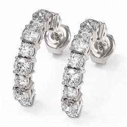 4 ctw Cushion Cut Diamond Designer Earrings 18K White Gold