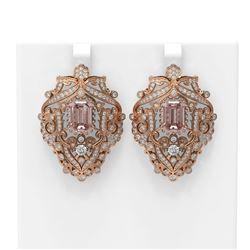 13.01 ctw Morganite & Diamond Earrings 18K Rose Gold