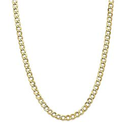 10k Yellow Gold 6.5 mm Semi-Solid Curb Link Chain - 22 in.