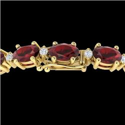 15 ctw Garnet & VS/SI Diamond Certified Eternity Bracelet 10k Yellow Gold