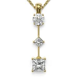 0.9 ctw Princess Cut Diamond Designer Necklace 18K Yellow Gold