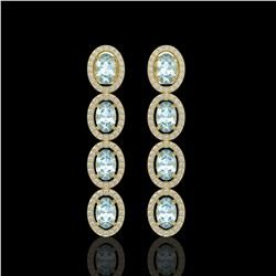 6.28 ctw Sky Topaz & Diamond Micro Pave Halo Earrings 10k Yellow Gold