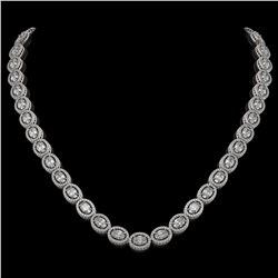 30.41 ctw Oval Cut Diamond Micro Pave Necklace 18K White Gold