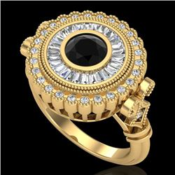 2.03 ctw Fancy Black Diamond Engagment Art Deco Ring 18k Yellow Gold