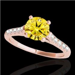 1.45 ctw Certified SI/I Fancy Intense Yellow Diamond Ring 10k Rose Gold