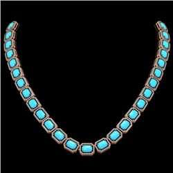 52.89 ctw Turquoise & Diamond Micro Pave Halo Necklace 10k Rose Gold
