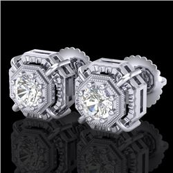 1.11 ctw VS/SI Diamond Solitaire Art Deco Stud Earrings 18k White Gold