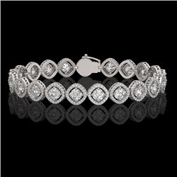 13.06 ctw Cushion Cut Diamond Micro Pave Bracelet 18K White Gold