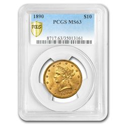 1890 $10 Liberty Gold Eagle MS-63 PCGS