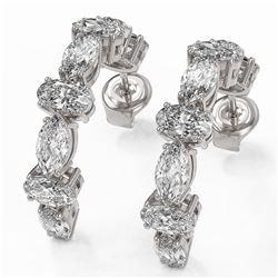 4.16 ctw Oval Cut Diamond Designer Earrings 18K White Gold