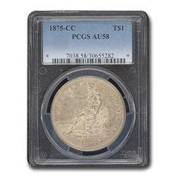 1875-CC Trade Dollar AU-58 PCGS