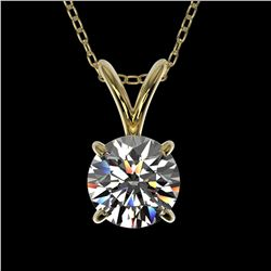 0.75 ctw Certified Quality Diamond Solitaire Necklace 10k Yellow Gold