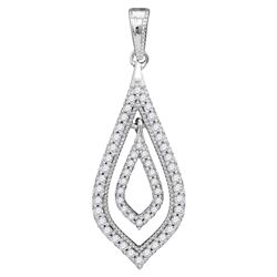 10kt White Gold Round Diamond Oblong Nested Oval Frame Pendant 1/4 Cttw