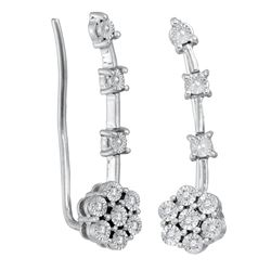 Sterling Silver Round Diamond Illusion-set Cluster Climber Earrings 1/20 Cttw