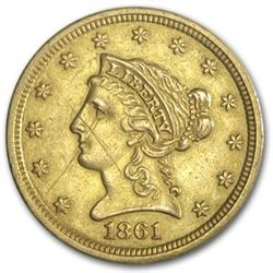 1861 $2.50 Liberty Gold Quarter Eagle Type 2 AU Details (Cleaned)