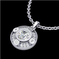 1.01 ctw VS/SI Diamond Solitaire Art Deco Stud Necklace 18k White Gold