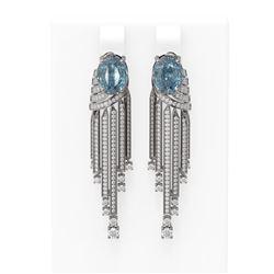 7.74 ctw Blue Topaz & Diamond Earrings 18K White Gold