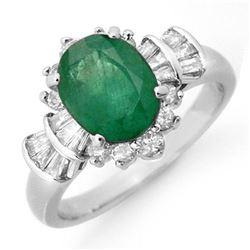 2.01 ctw Emerald & Diamond Ring 18k White Gold