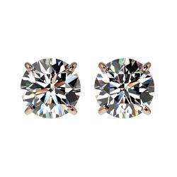 1.57 ctw Certified Quality Diamond Stud Earrings 10k Rose Gold