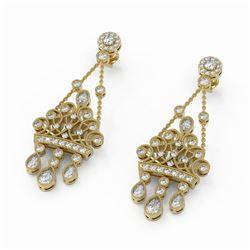 3.33 ctw Diamond Designer Earrings 18K Yellow Gold