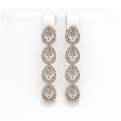 6.01 ctw Pear Cut Diamond Micro Pave Earrings 18K Rose Gold