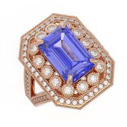 5.86 ctw Certified Tanzanite & Diamond Victorian Ring 14K Rose Gold