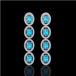 6.28 ctw Swiss Topaz & Diamond Micro Pave Halo Earrings 10k White Gold