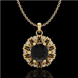 1.2 ctw Fancy Black Diamond Art Deco Micro Pave Necklace 18k Yellow Gold