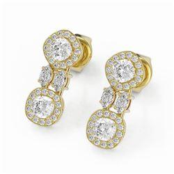 2 ctw Cushion & Marquise Cut Diamond Earrings 18K Yellow Gold