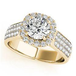 1.8 ctw Certified VS/SI Diamond Halo Ring 14k Yellow Gold