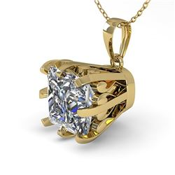 1 ctw Certified VS/SI Princess Diamond Necklace Vintage 14k Yellow Gold