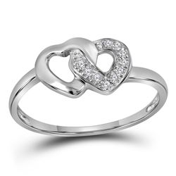 Sterling Silver Round Diamond Double Linked Heart Ring 1/20 Cttw