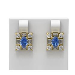 3.64 ctw Tanzanite & Diamond Earrings 18K Yellow Gold