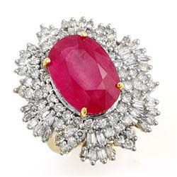 12.16 ctw Ruby & Diamond Ring 14k Yellow Gold