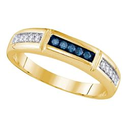 14kt Yellow Gold Round Blue Color Enhanced Diamond Band Ring 1/4 Cttw