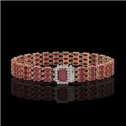 28.74 ctw Ruby & Diamond Bracelet 14K Rose Gold