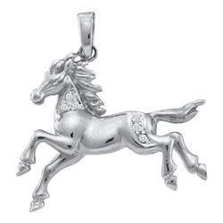 10k White Gold Round Diamond Horse Mare Animal Large Pendant 1/20 Cttw
