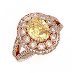 3.75 ctw Canary Citrine & Diamond Victorian Ring 14K Rose Gold