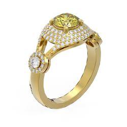 2.18 ctw Fancy Yellow Diamond Ring 18K Yellow Gold