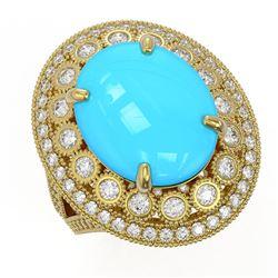 9.07 ctw Turquoise & Diamond Victorian Ring 14K Yellow Gold