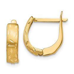 14k Polished Brushed D/C Hoop Earrings - 39 mm