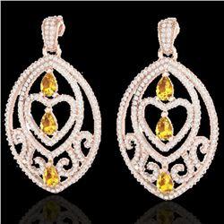 7 ctw Yellow Sapphire & Diamond Heart Earrings 14k Rose Gold